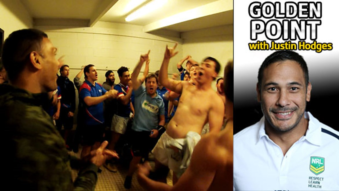 Justin Hodges celebrates with his Australian Catholic University team after his first win as a coach.