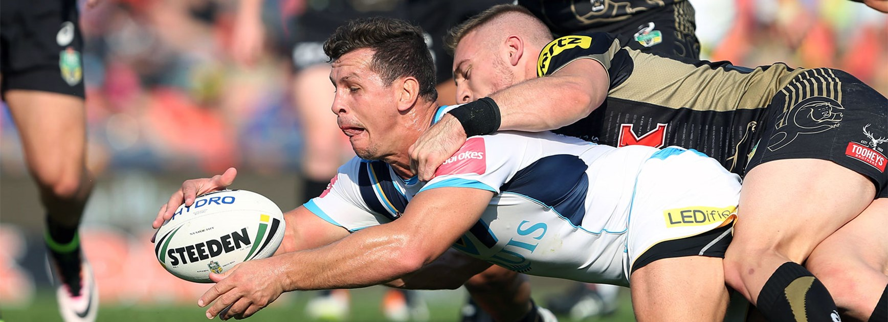 Greg Bird scores for the Titans against Penrith on Sunday.