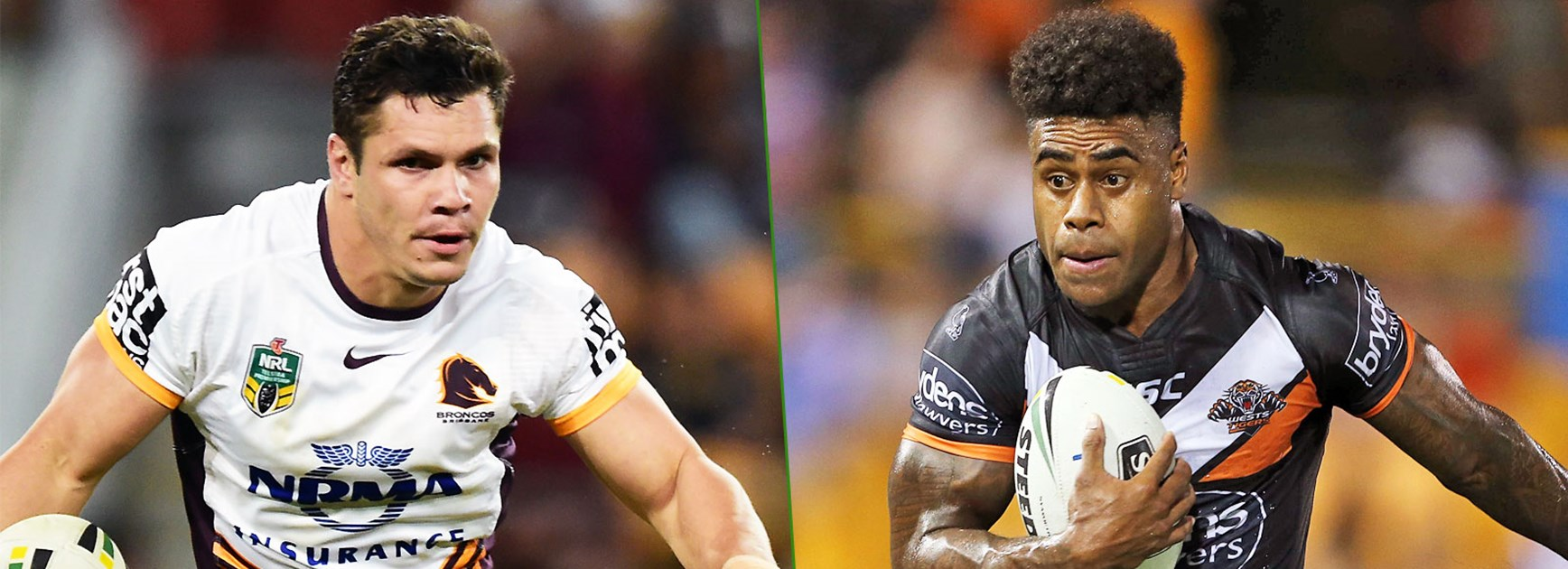 Broncos centre James Roberts and Wests Tigers speedster Kevin Naiqama.