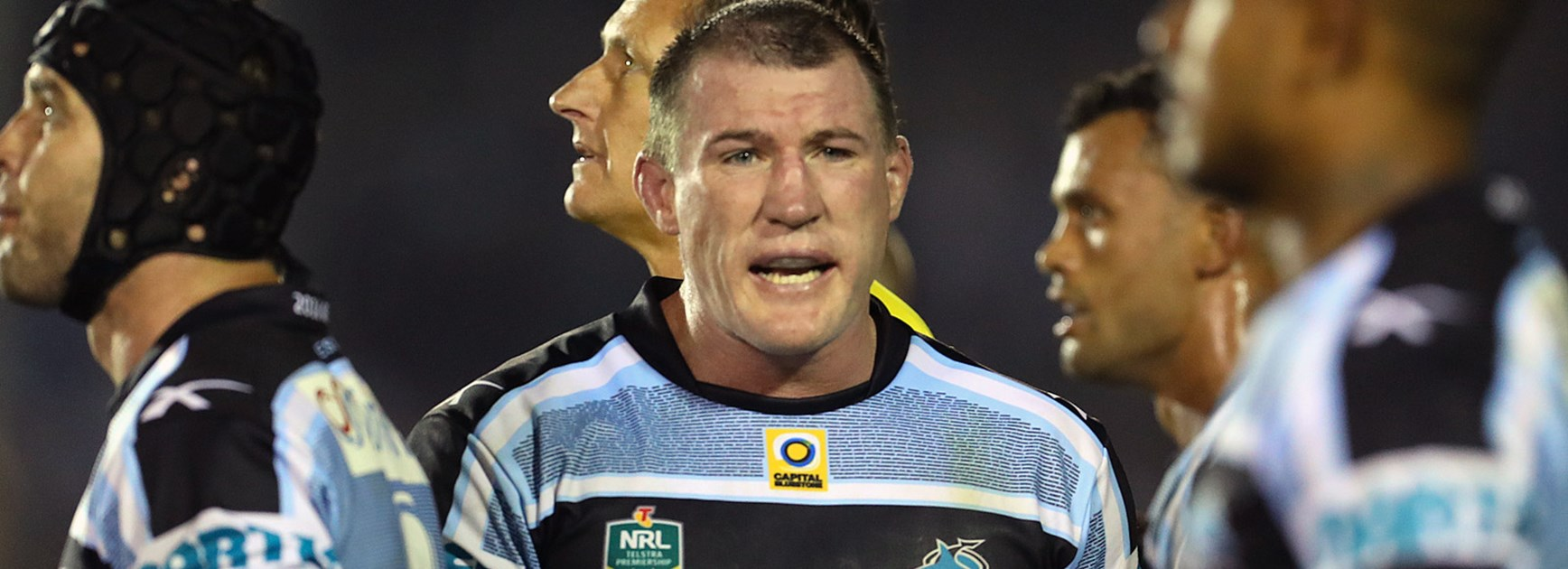 Sharks captain Paul Gallen addresses his teammates.