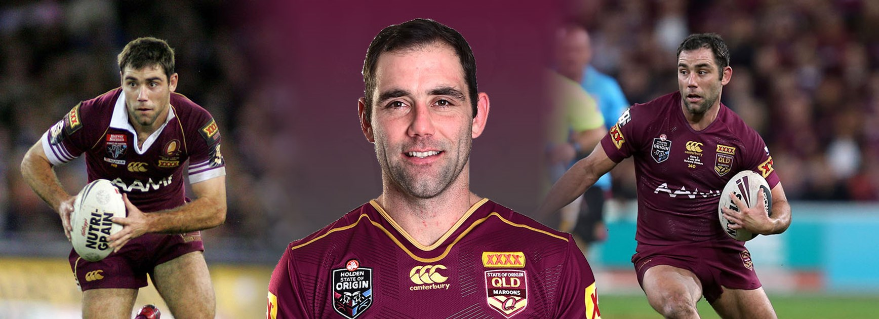 Cam Smith is about to break the all-time Origin appearance record. On debut (left) and during 2015 series (right).
