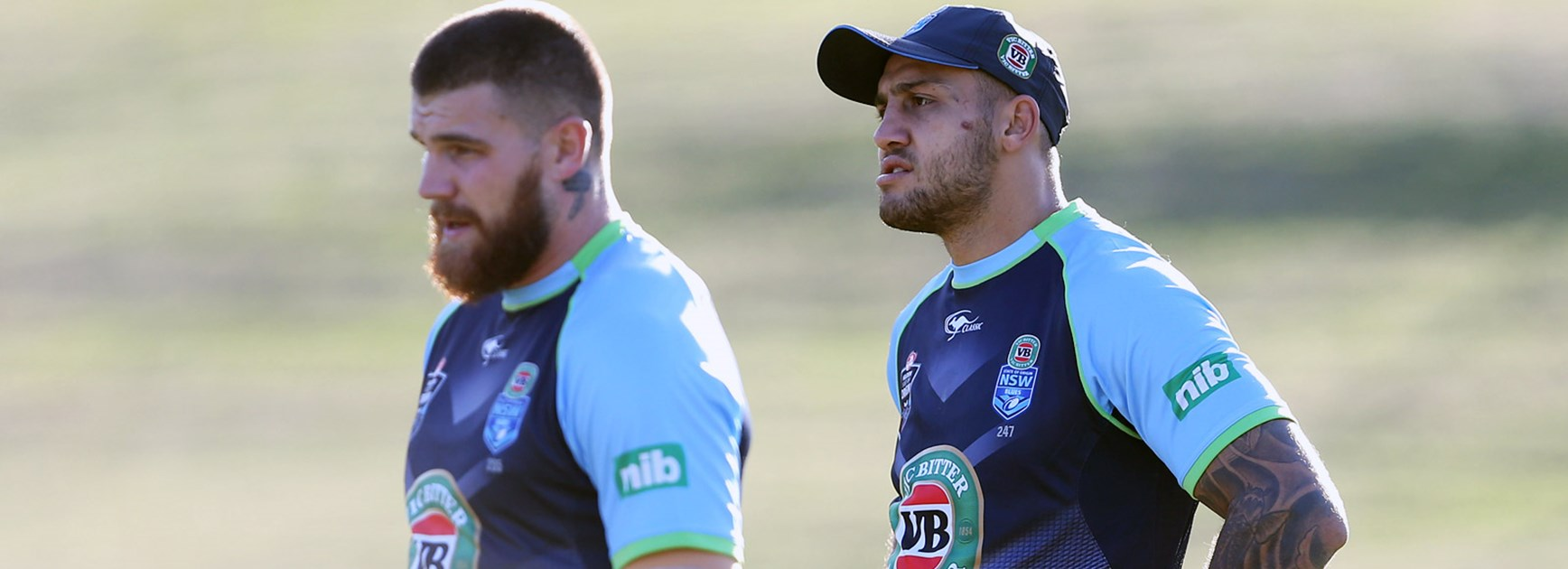 NSW teammates Blake Ferguson and Josh Dugan in training ahead of Game One.