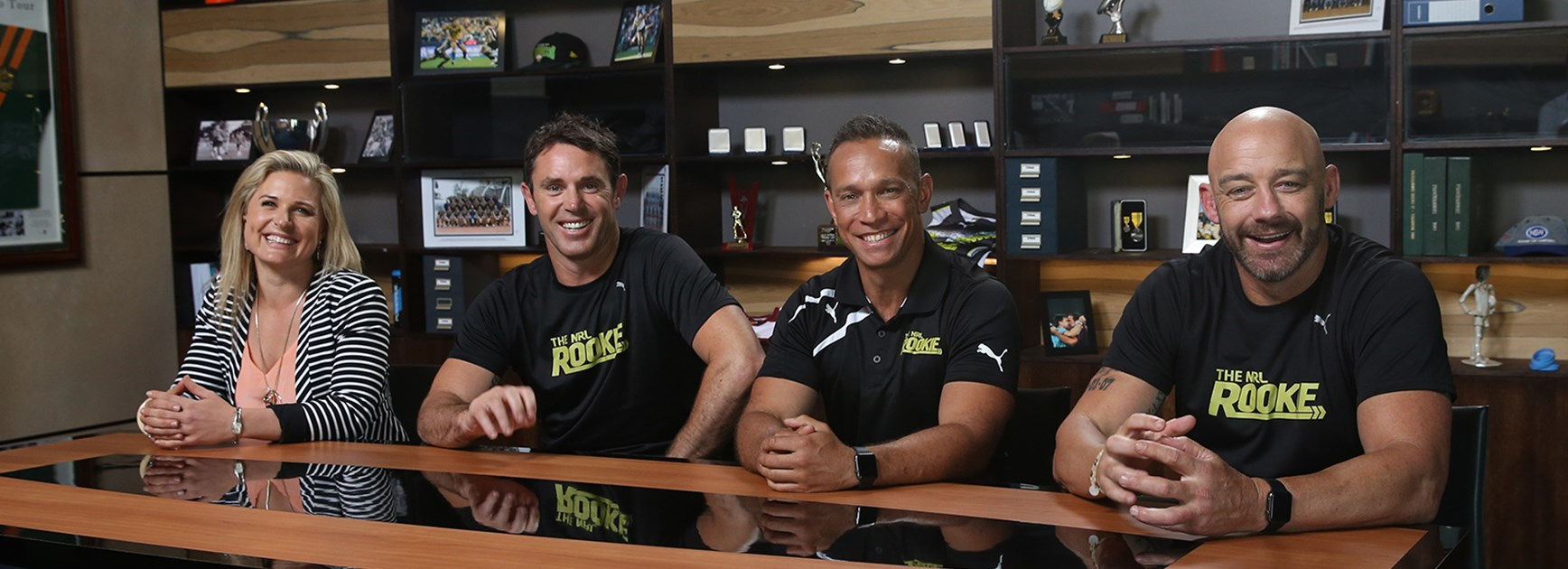 Kate Baecher, Brad Fittler, Adrian Lam and Mark Geyer in 'The War Room' on The NRL Rookie.