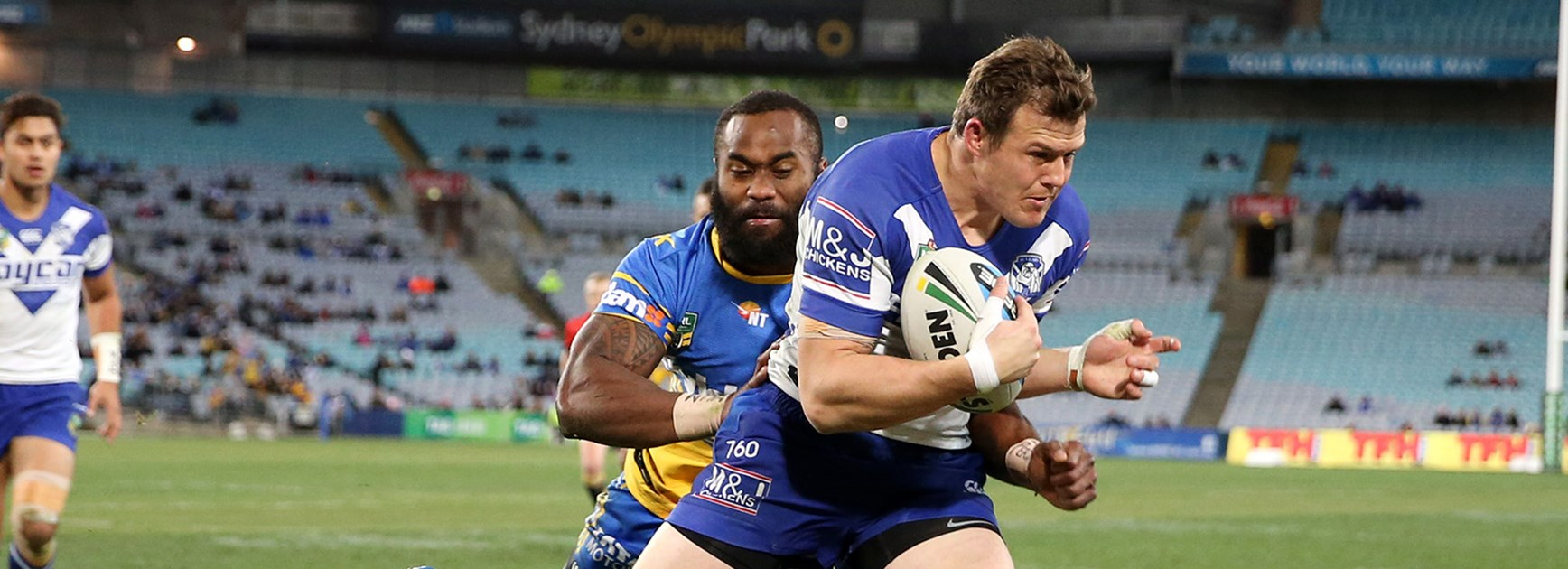 Brett Morris is tackled by Semi Radradra.