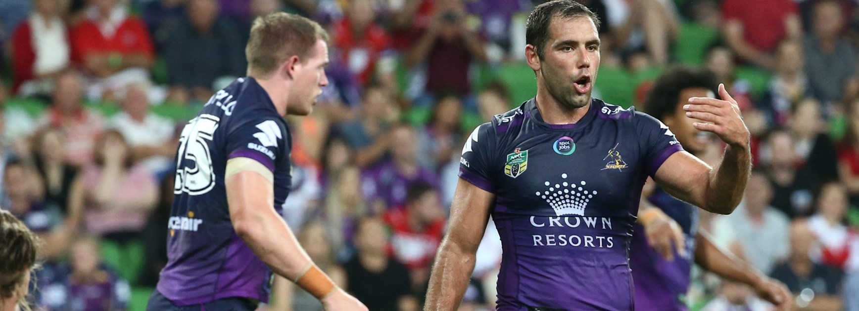 Cameron Smith in action for the Storm against the Dragons in Round 1.