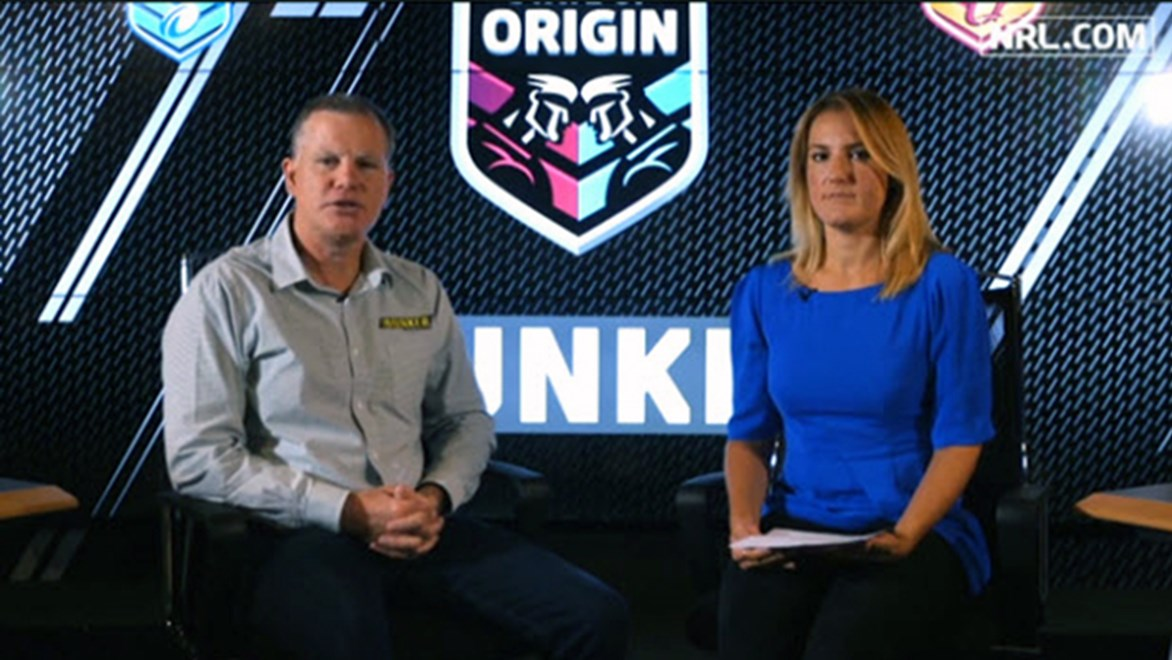 NRL referees boss Tony Archer speaking with Amie Lindsell on NRL HQ after State of Origin I.