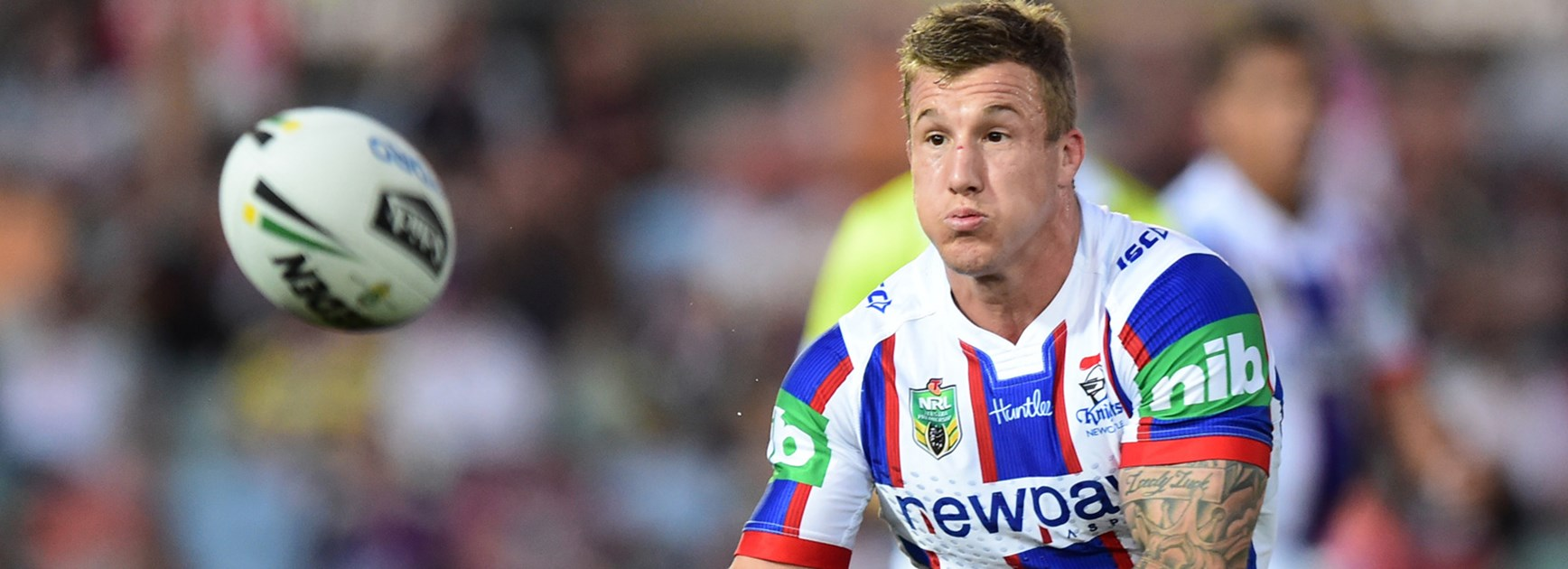 Knights co-captain Trent Hodkinson against the Cowboys in Round 13.