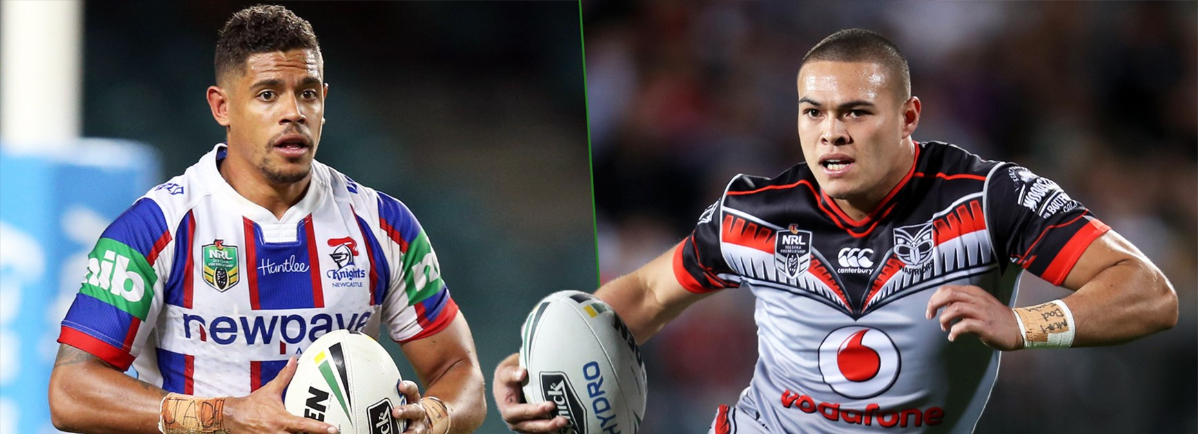 Newcastle fullback Dane Gagai and Warriors counterpart Tuimoala Lolohea.