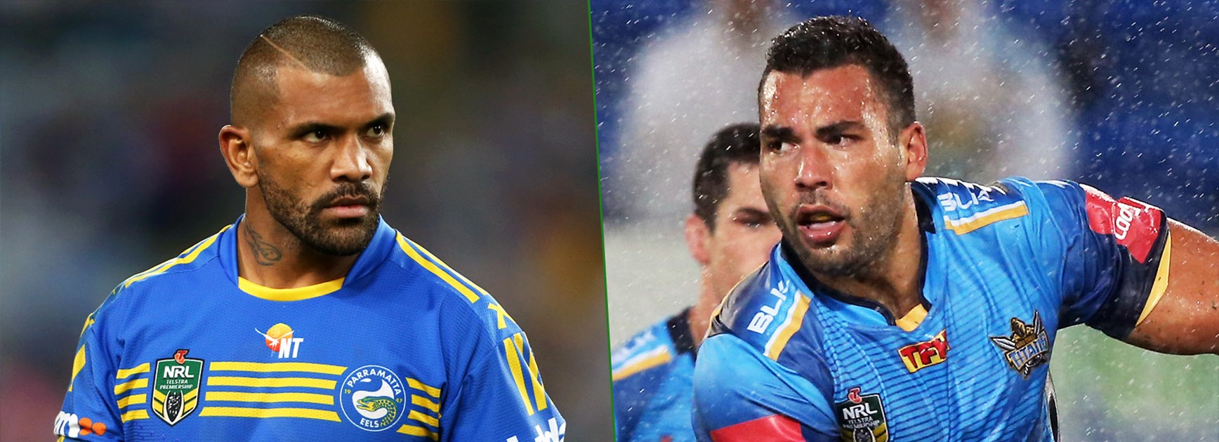 Eels enforcer Manu Ma'u and Titans forward Ryan James.