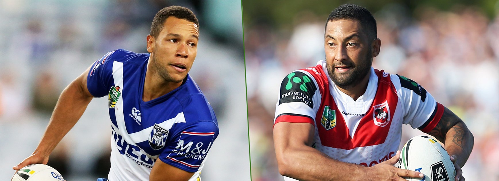 Rival halfbacks Moses Mbye and Benji Marshall.