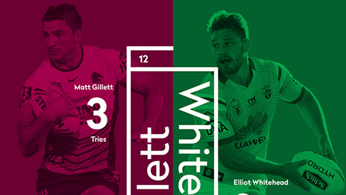 In-form second-row forwards Matt Gillett and Elliot Whitehead go head-to-head as the Broncos take on the Raiders.