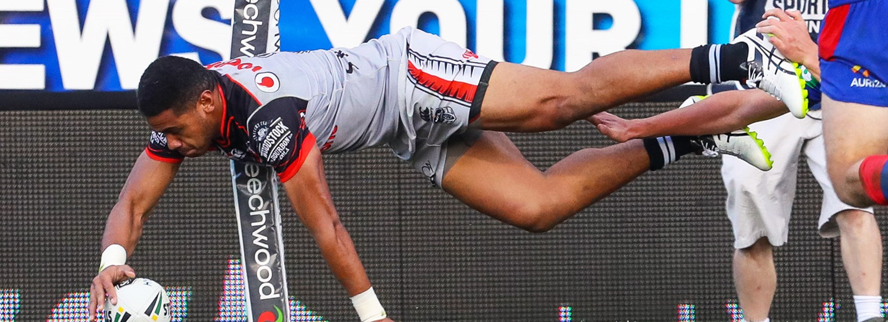 Warriors winger David Fusitu'a scored four tries against the Knights in Round 14.