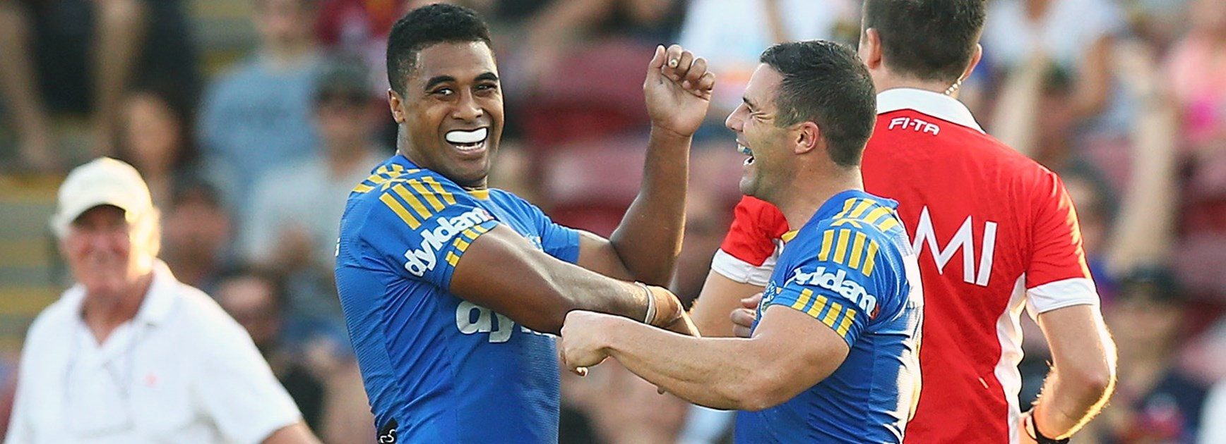 Michael Jennings and Michael Gordon celebrate during the Eels' Round 14 win over the Titans.