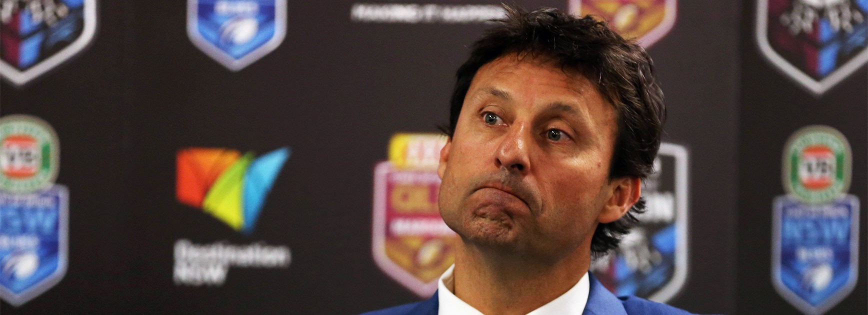 NSW coach Laurie Daley addresses the media after State of Origin I.