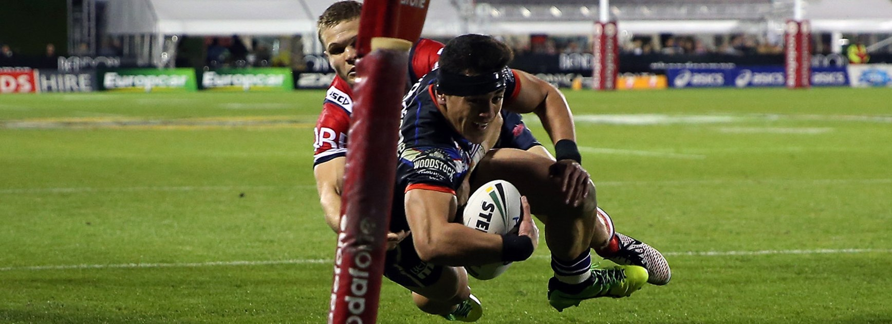 Warriors hooker Nathaniel Roache was forced to play on the wing against the Roosters in Round 15.