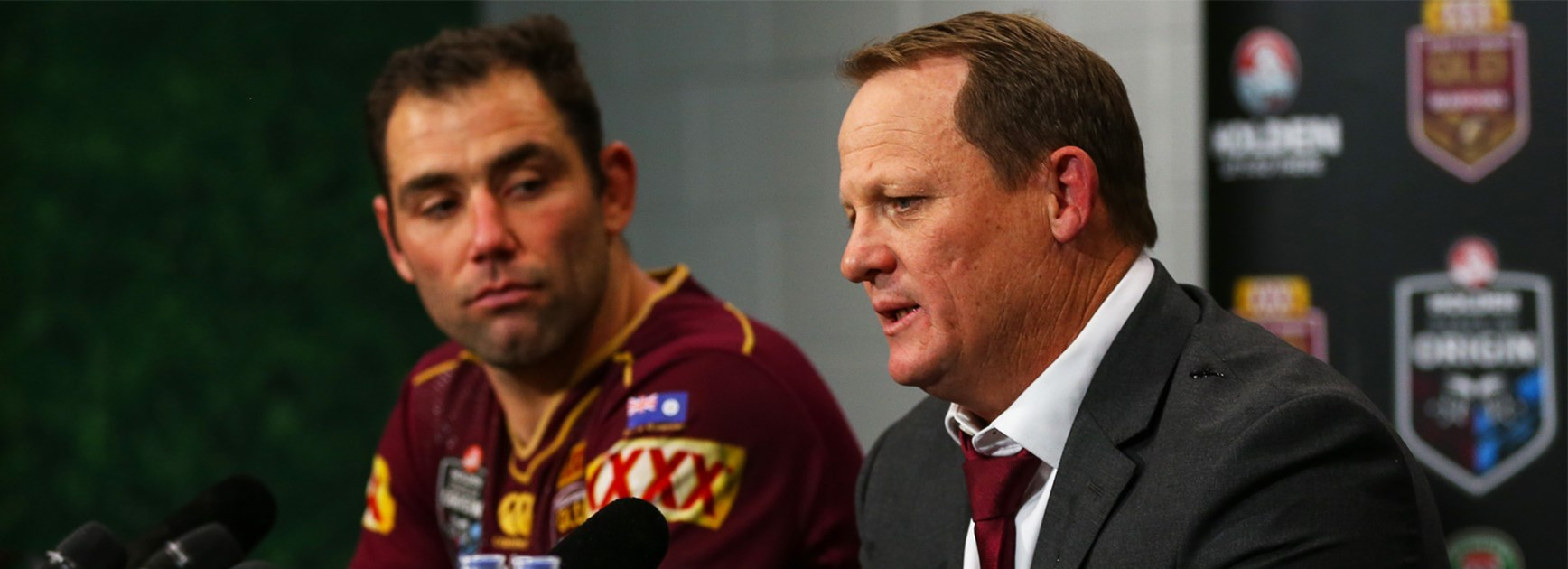 Queensland coach Kevin Walters with Maroons skipper Cameron Smith.