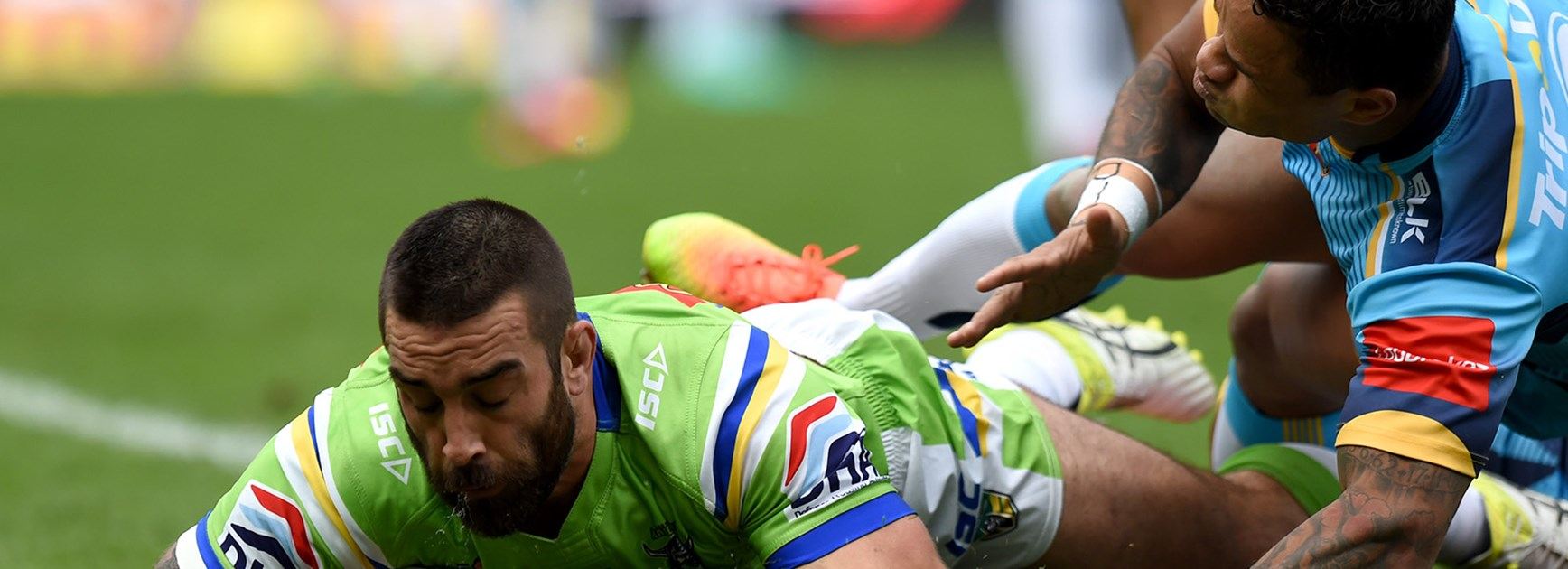 Paul Vaughan scored the first try for the Raiders against the Titans.