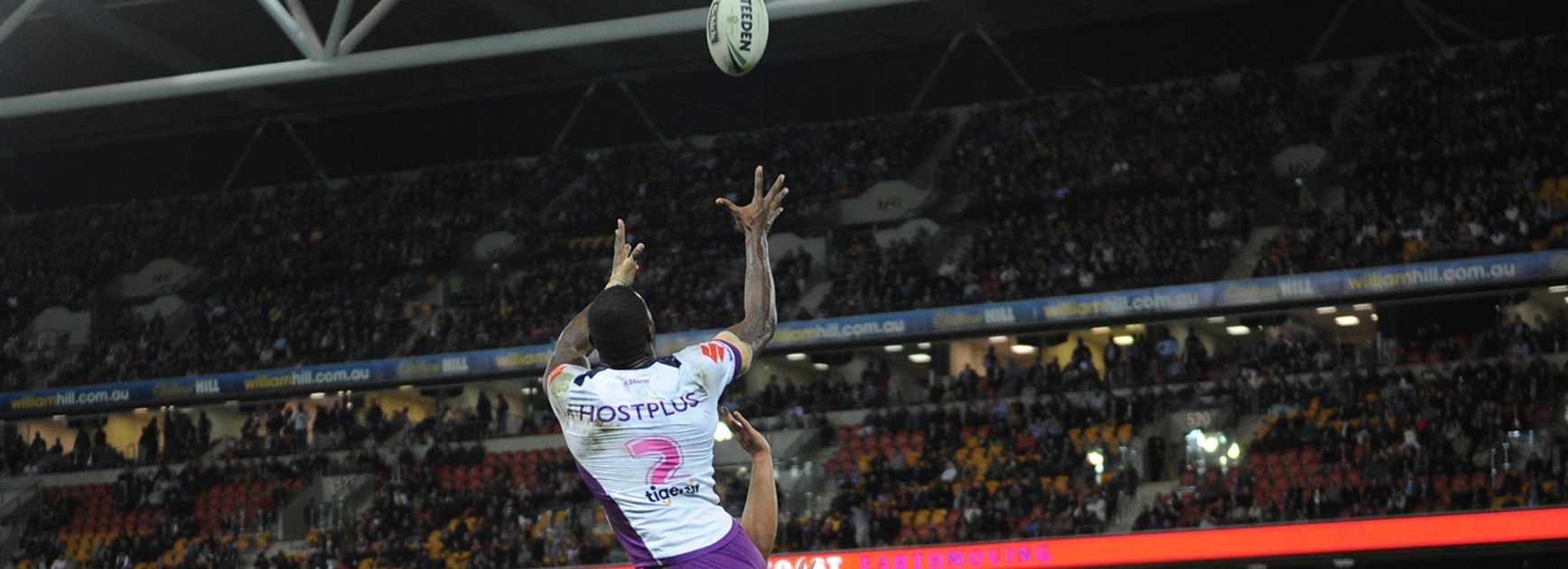 Suliasi Vunivalu soars above the Broncos to score a hat-trick at Suncorp Stadium.