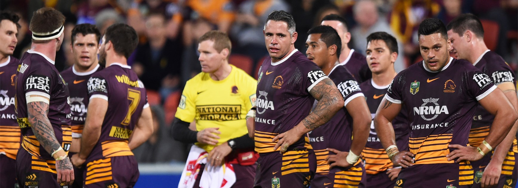 The Brisbane Broncos during their thrashing at the hands of the Storm.