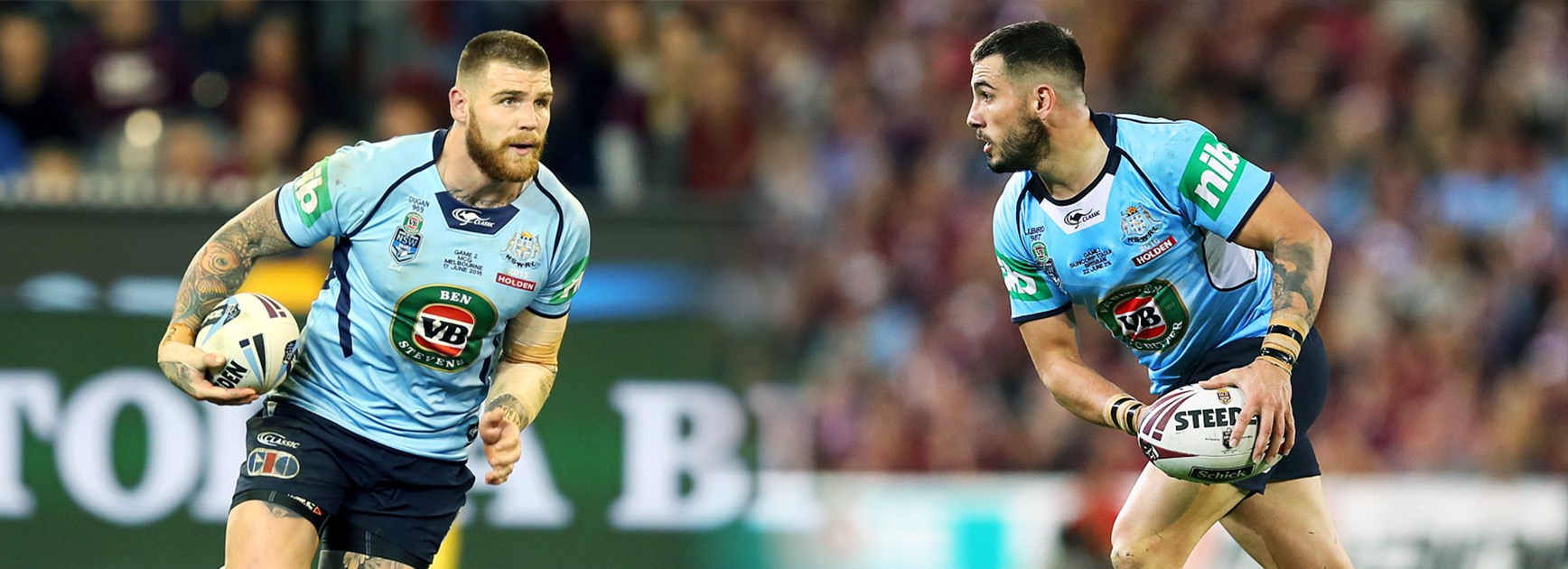 NSW Origin teammates Josh Dugan and Jack Bird.