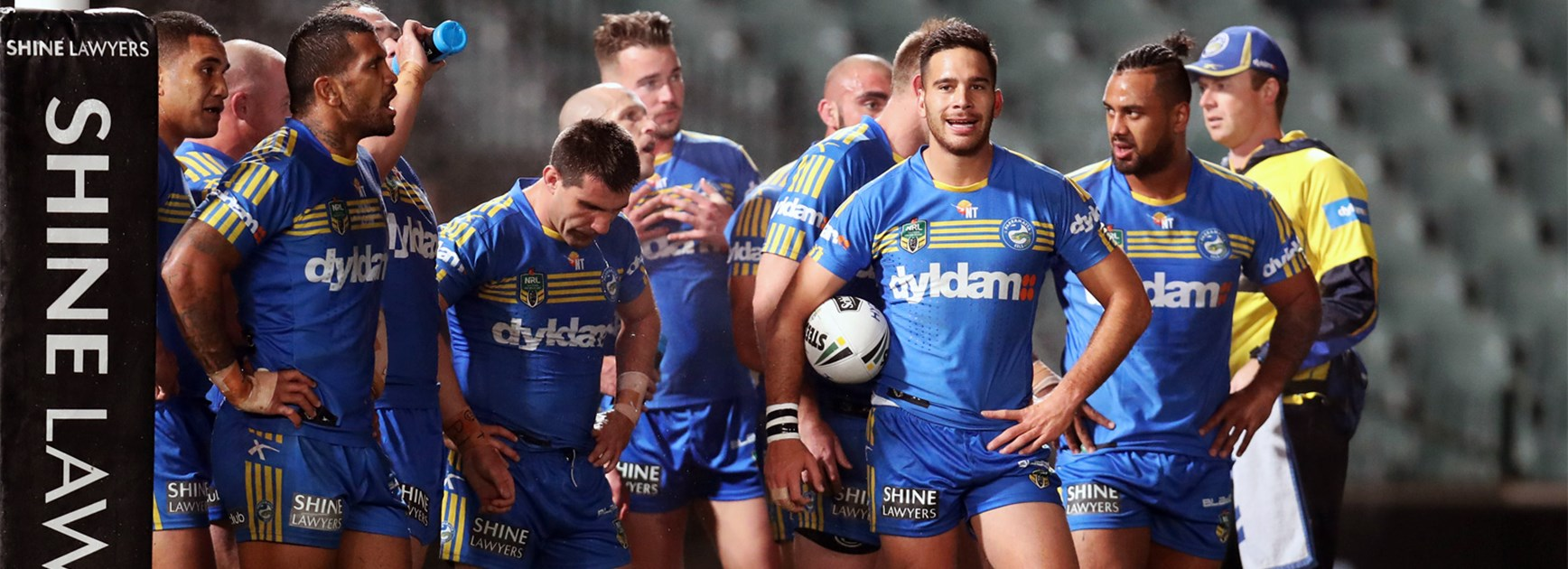 The Parramatta Eels during Friday's clash with the Roosters.