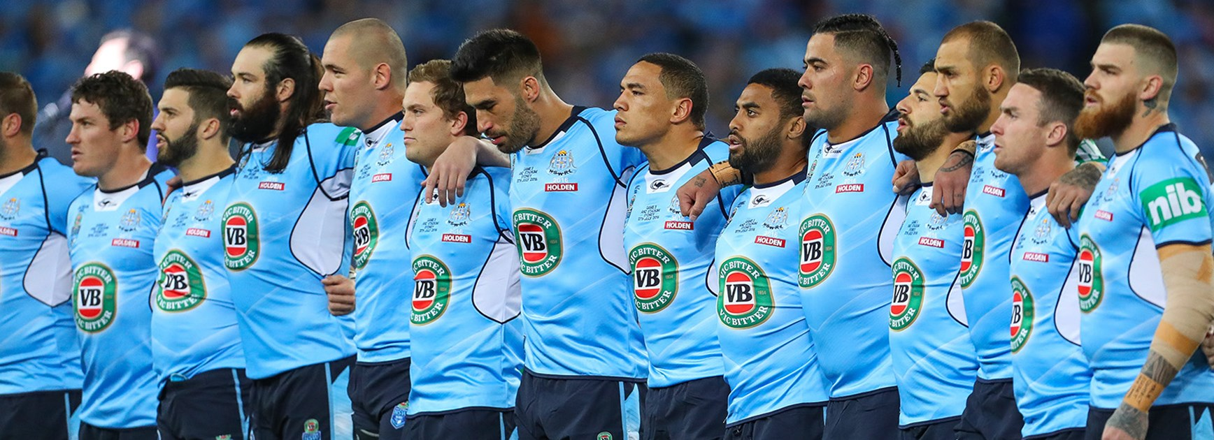 NSW players before Game Three of State of Origin.