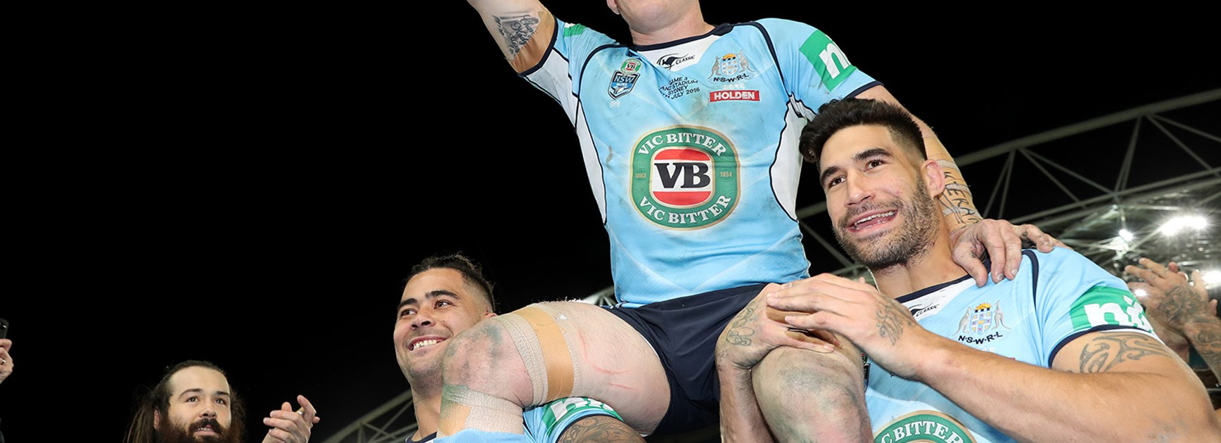 Paul Gallen celebrates his last Origin game in style.