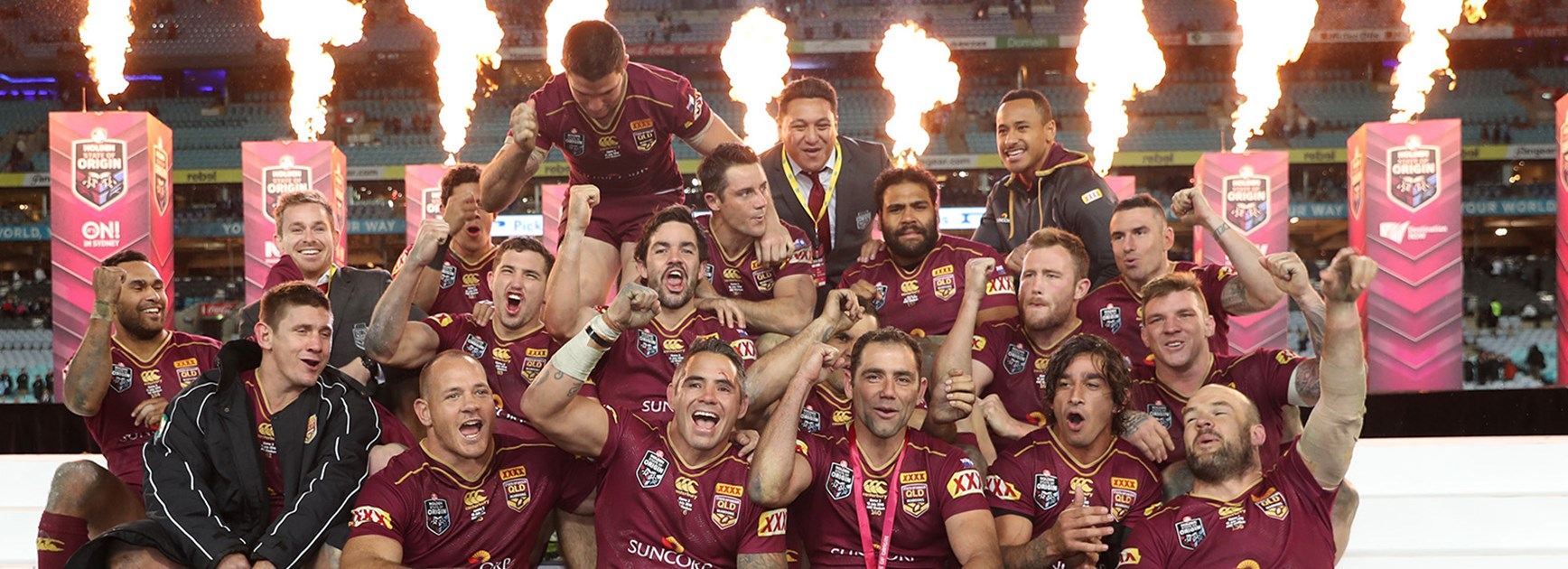Queensland celebrate their 10th Series win from the last 11.
