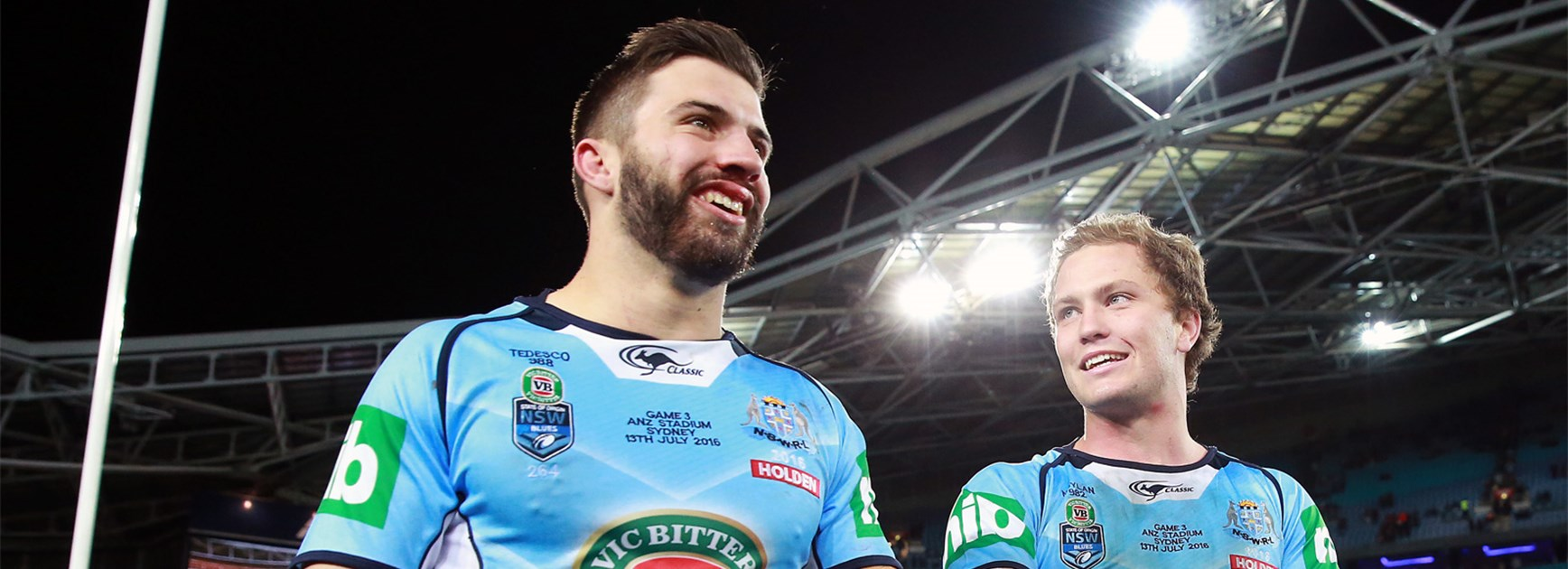 NSW fullback James Tedesco and five-eighth Matt Moylan after the Blues won State of Origin III.