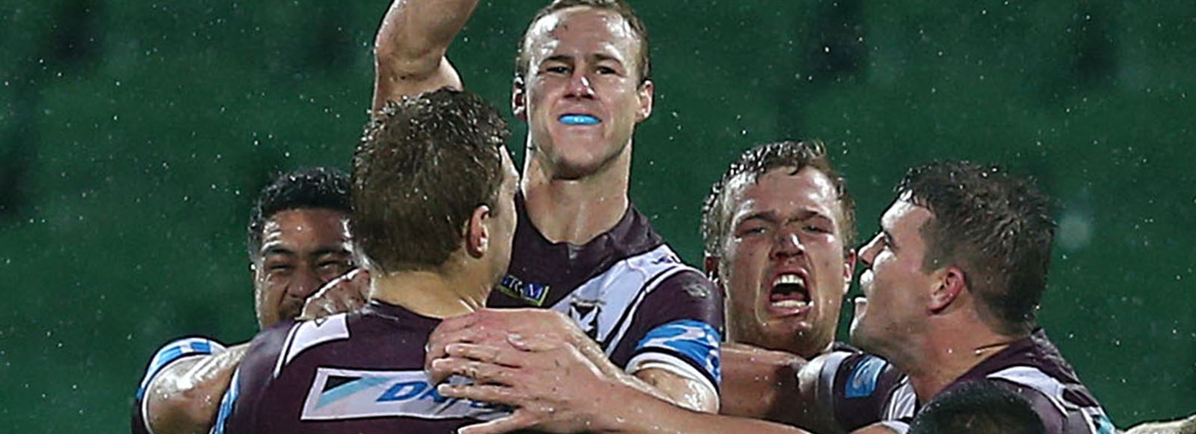Daly Cherry-Evans celebrates his golden point winning field goal against the Warriors at nib Stadium.