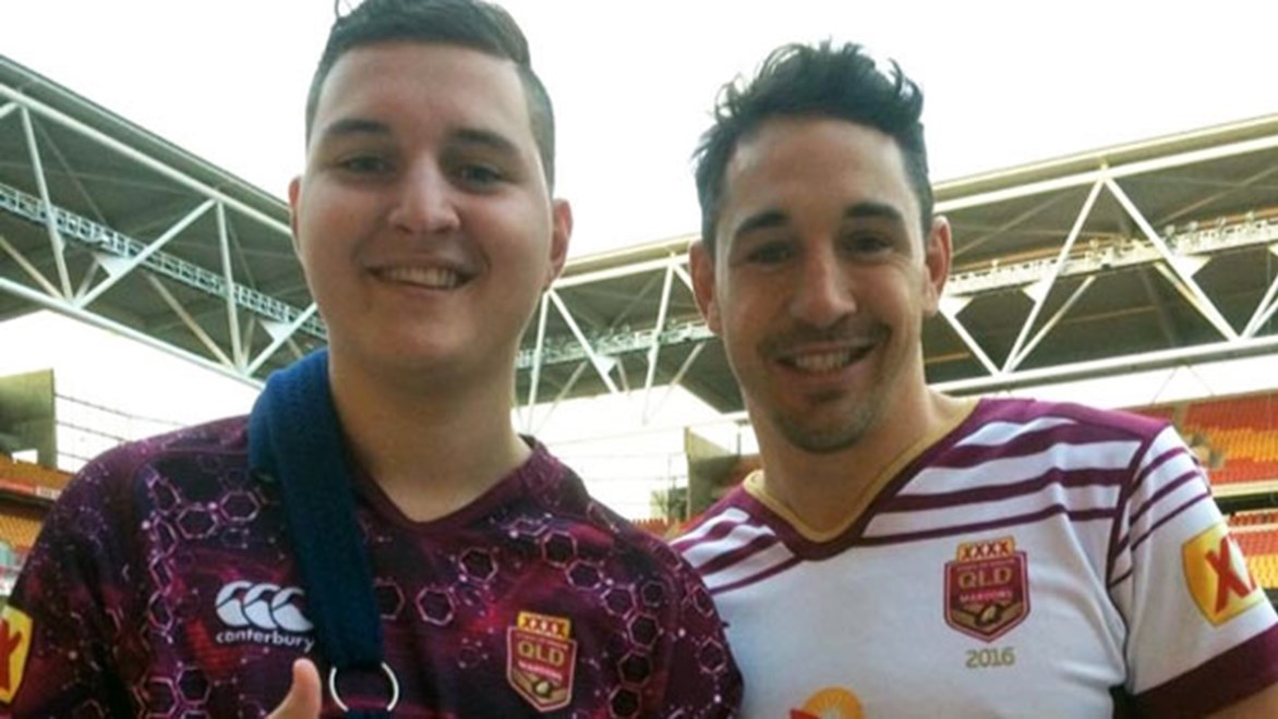 Billy Slater was just one of the Maroons greats only too happy to spend time with Harry Bowes prior to Origin II.