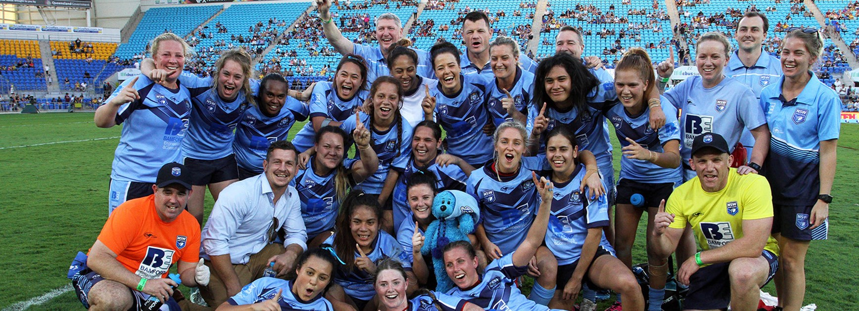 The NSW Women's team celebrate their first Interstate Challenge victory.