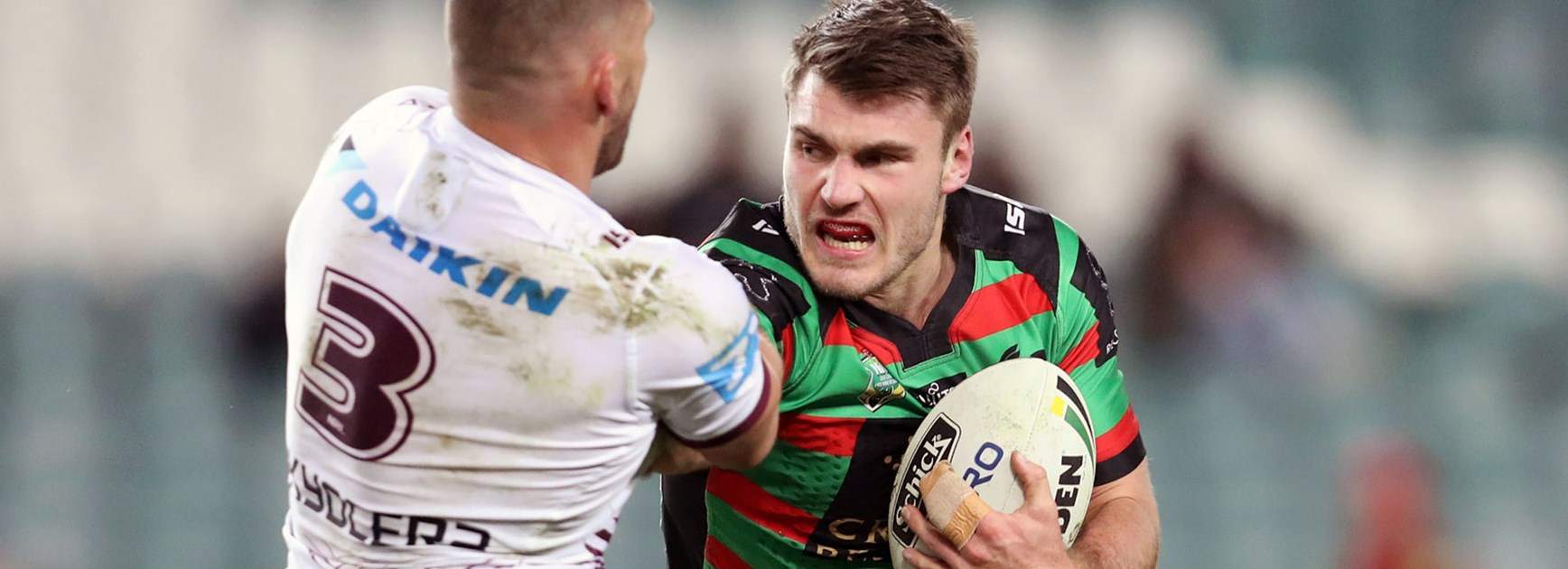 Rabbitohs young gun Angus Crichton against the Sea Eagles in Round 20.