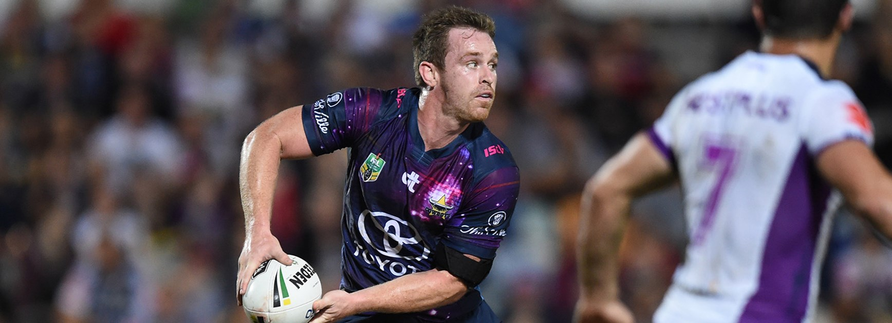 Michael Morgan in action without Johnathan Thurston in Round 21.