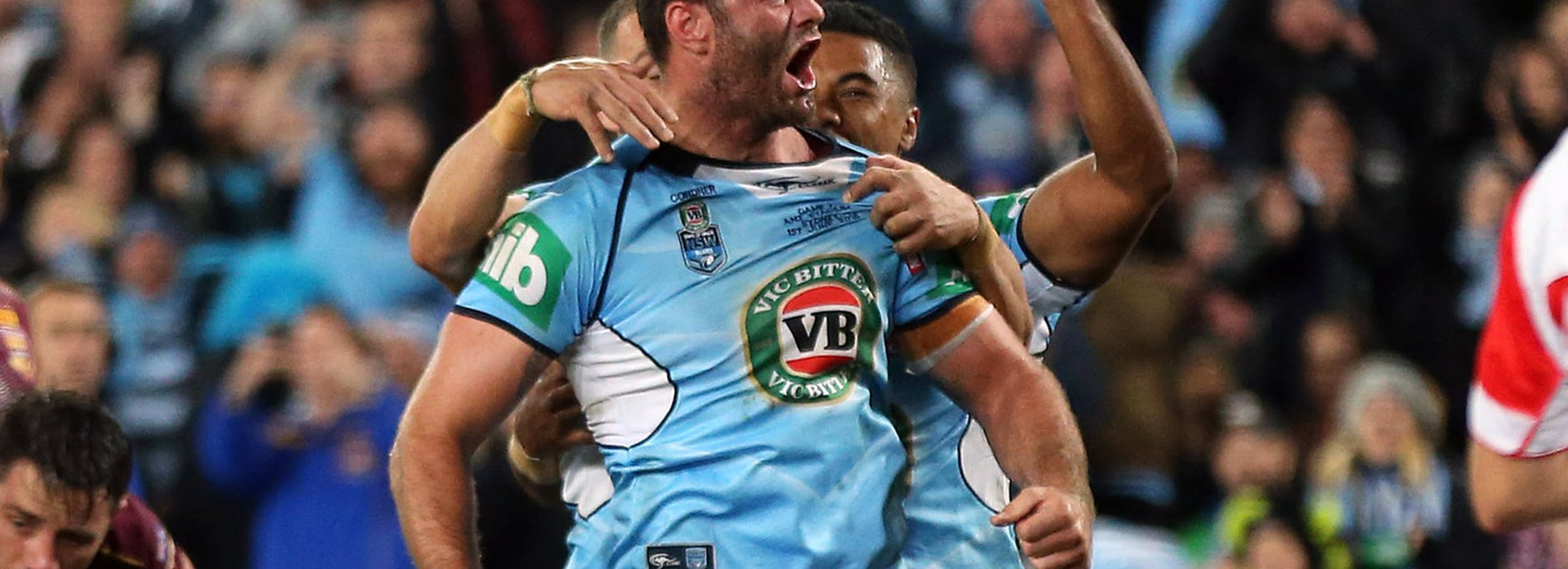 NSW players celebrate Boyd Cordner's try in Game One of the 2016 Origin series.