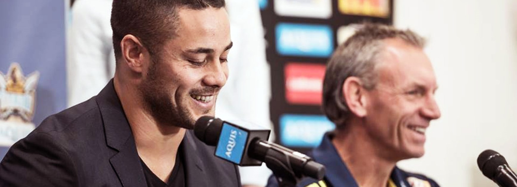 Gold Coast Titans recruit Jarryd Hayne and coach Neil Henry.
