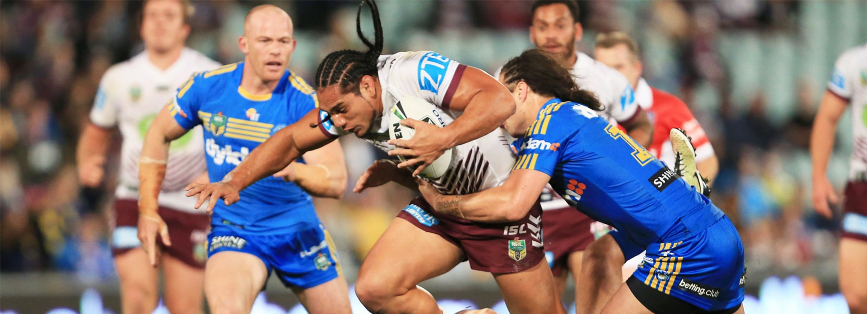 Martin Taupau takes a charge against the Eels in Round 22.