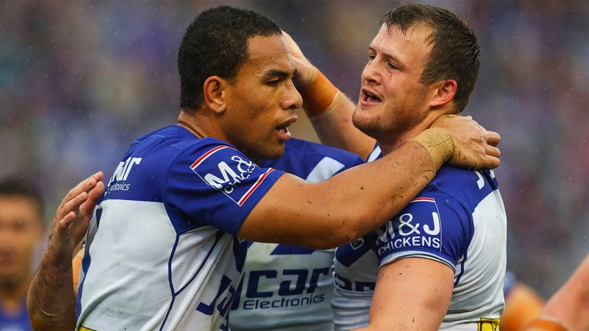Will Hopoate and Josh Morris celebrate a try for the Bulldogs.