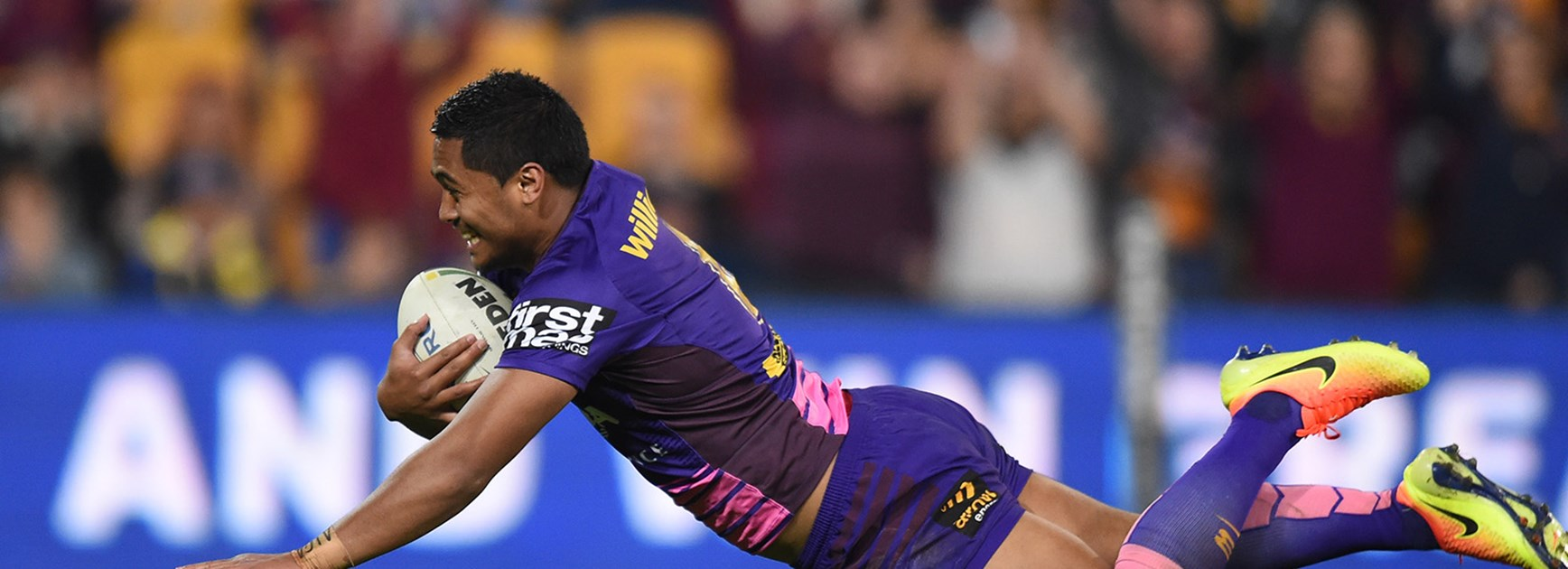 Anthony Milford scores with a big swan dive.