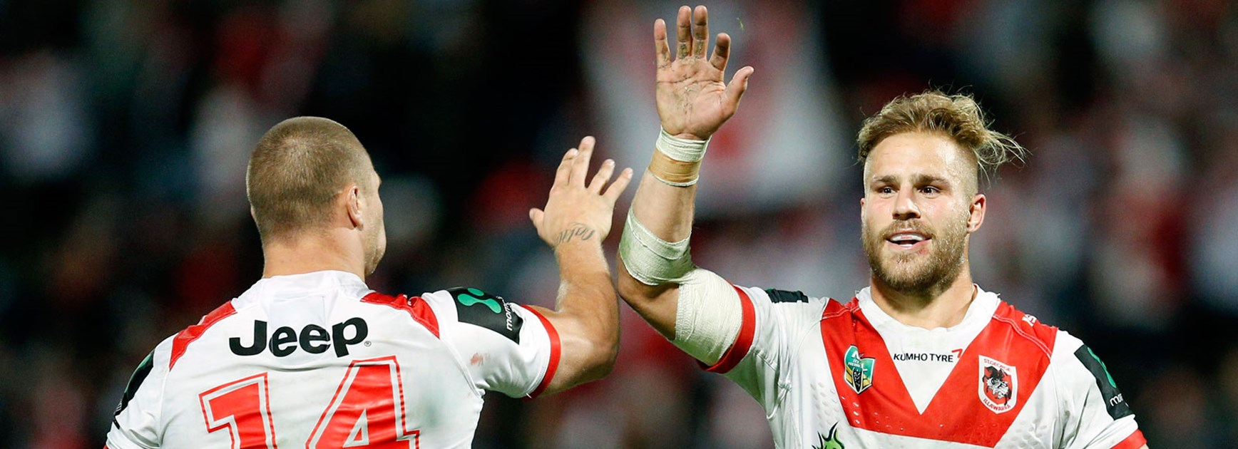 Jack de Belin and Tariq Sims following the Dragons' win over the Sharks.