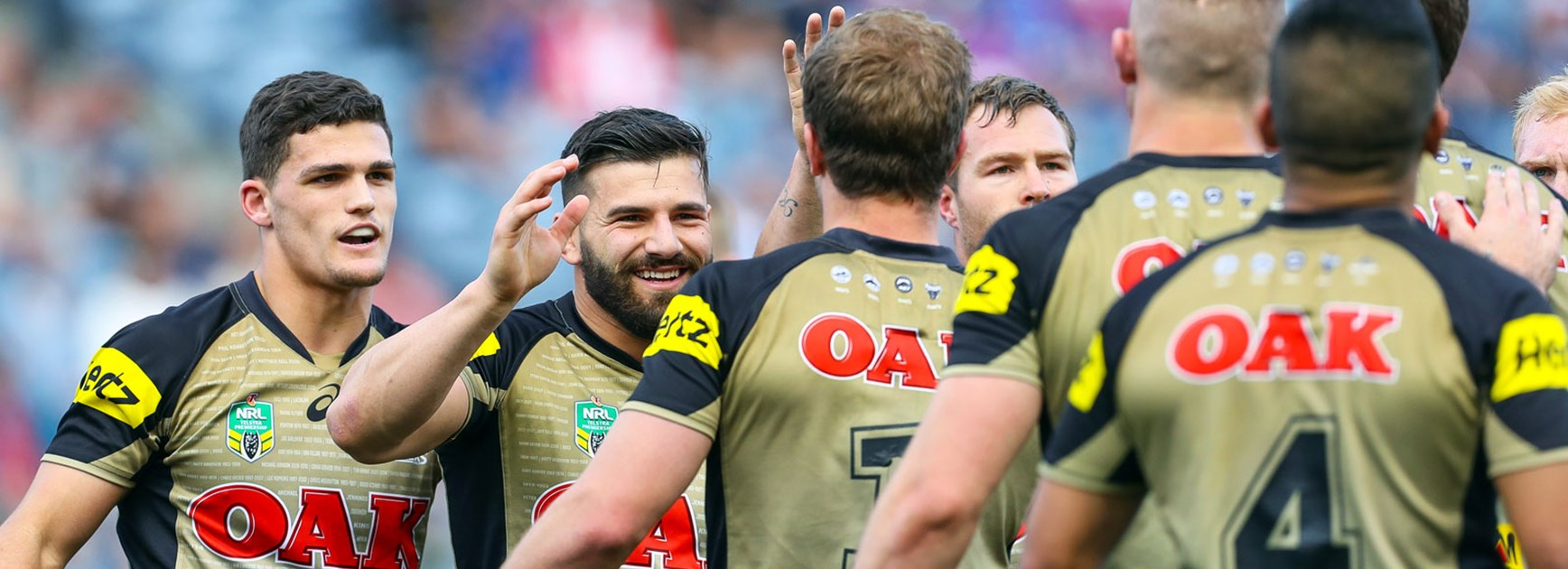 Panthers players celebrate during their Round 23 win over the Knights at Hunter Stadium.