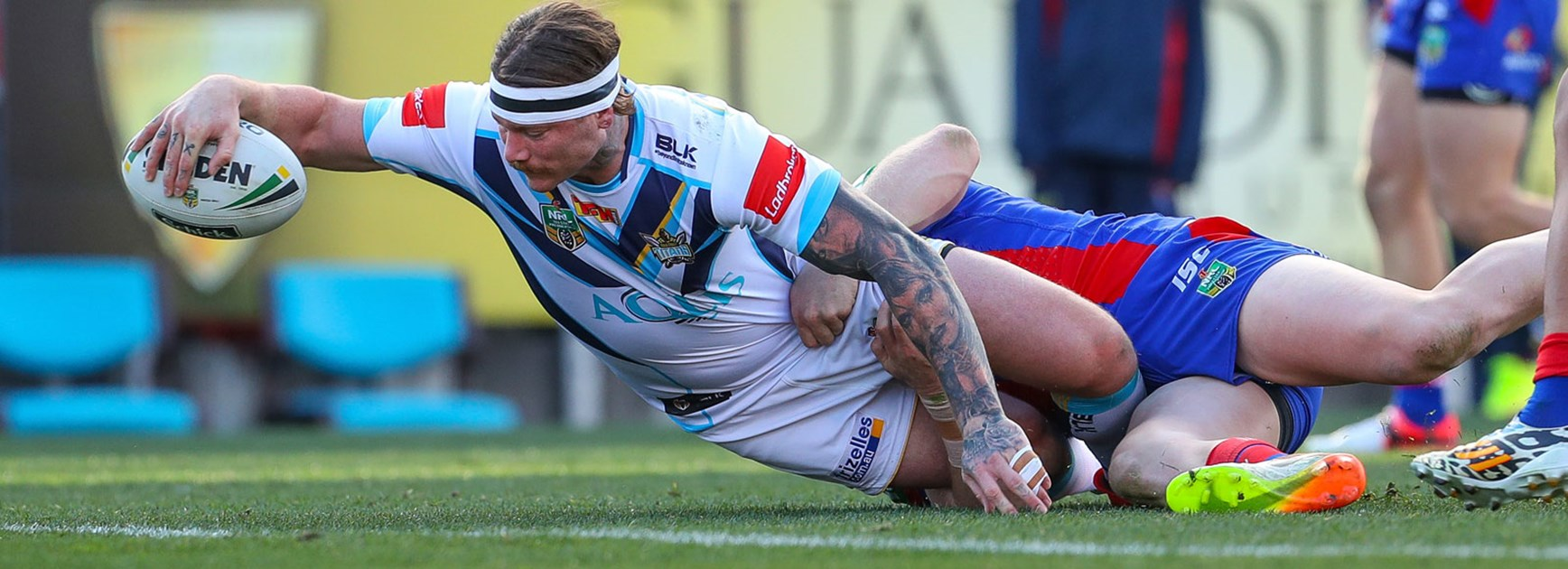Titans back-rower Chris McQueen scored a try against the Knights in Round 24.