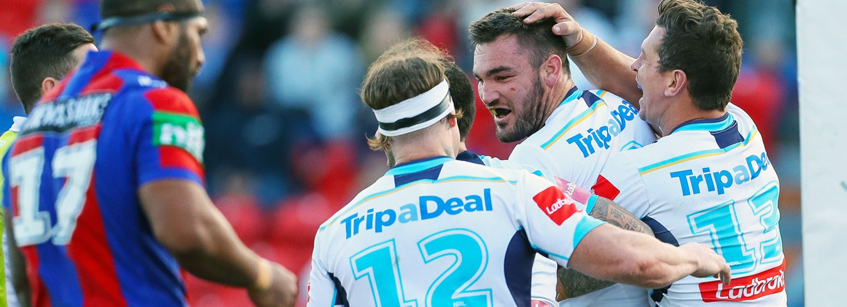Titans prop Luke Douglas scored a try against the Knights in Round 24.