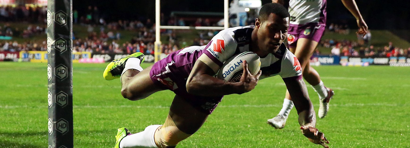 Suliasi Vunivalu scoring one of his four tries against the Sea Eagles in Round 24.