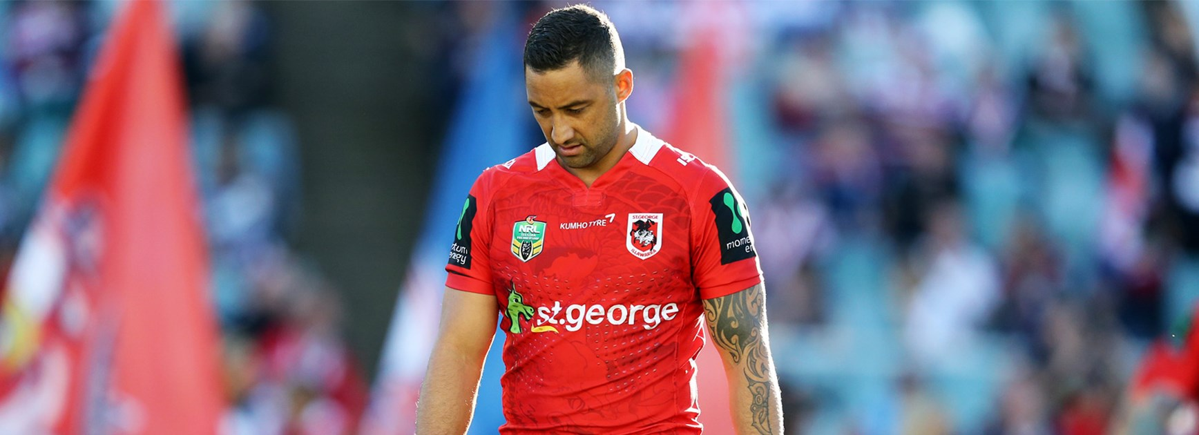 Dragons halfback Benji Marshall during his team's Round 24 clash with the Roosters.