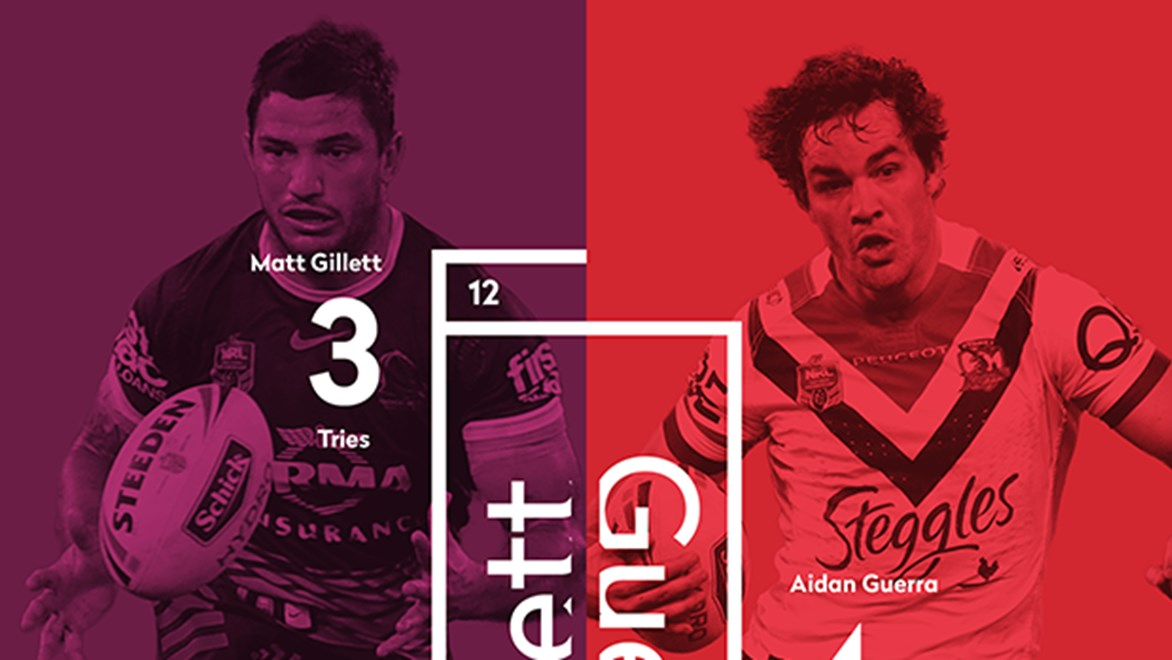 Brisbane's Matt Gillett and Sydney Roosters' Aidan Guerra go head-to-head in Round 26 of the Telstra Premiership.