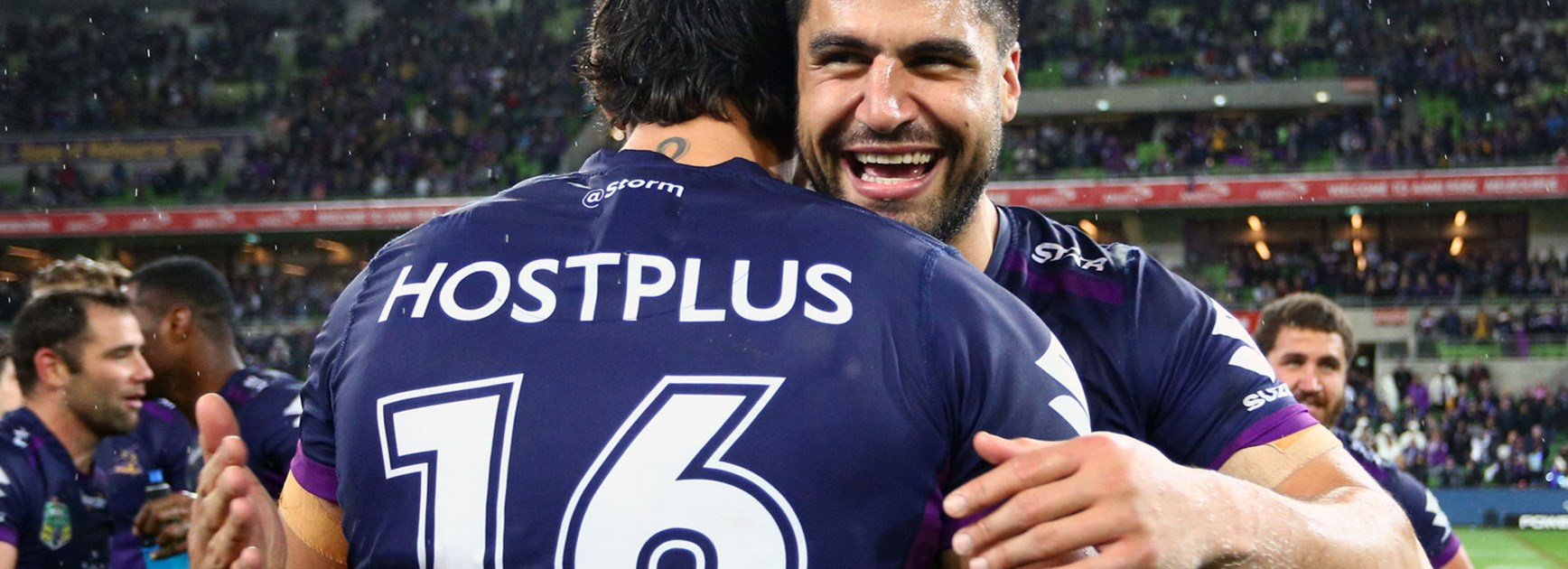 Jesse Bromwich and Jordan McLean following the Storm's win over the Sharks.