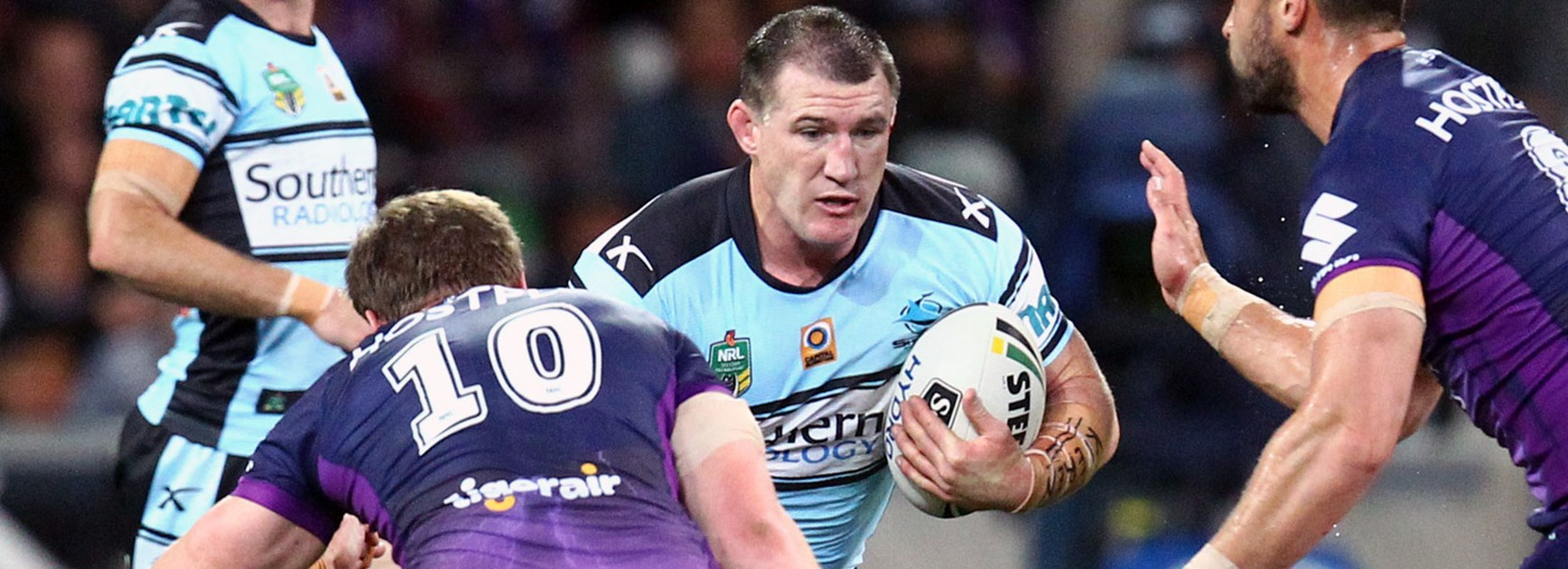 Sharks captain Paul Gallen against the Storm in Round 26.