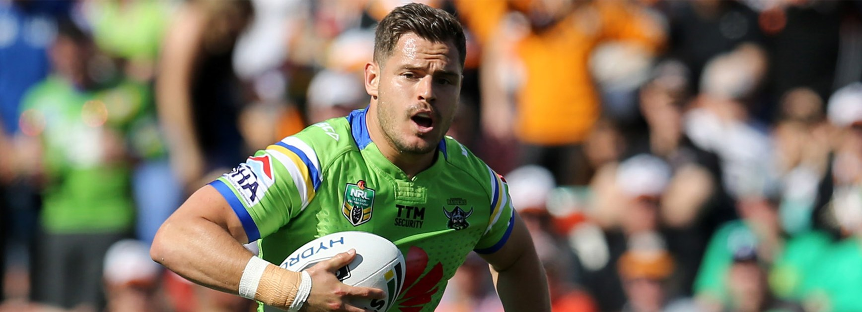 Raiders five-eighth Aidan Sezer in action against the Tigers on Sunday.