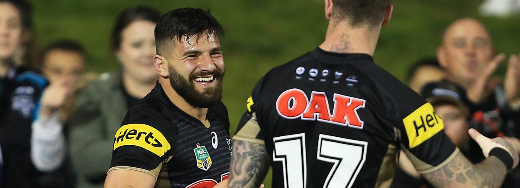 Josh Mansour celebrates a try for the Panthers against Manly on Sunday night.